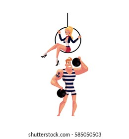 Circus performers - strongman, strong man and acrobat gymnast sitting on aerial hoop, cartoon vector illustration isolated on white background. Strongman, athlete and aerial hoop acrobat performers