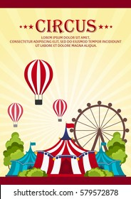 Circus Poster. Amazing show. Vector Flat illustration