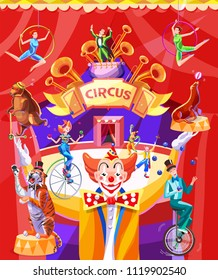 Circus poster with a conference. Illustration with the image of the arena of the circus, clowns, jugglers, acrobats and animals on a background of red wings. Vector illustration