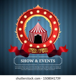 Circus poster image with a big top and fire ring - Vector
