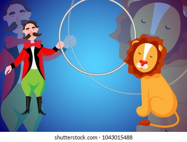 Circus. The circus poster, invitation, flyer. Vector illustration. Circus performance. Circus lion don't want jumping through a ring.