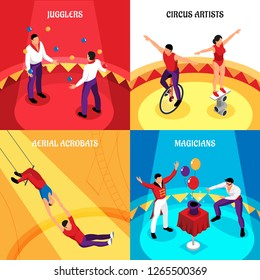 Circus professions jugglers cirque artists air acrobats and magicians isometric design concept isolated vector illustration