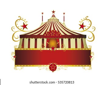circus red border frame. A circus sign isolated on white background for your show
