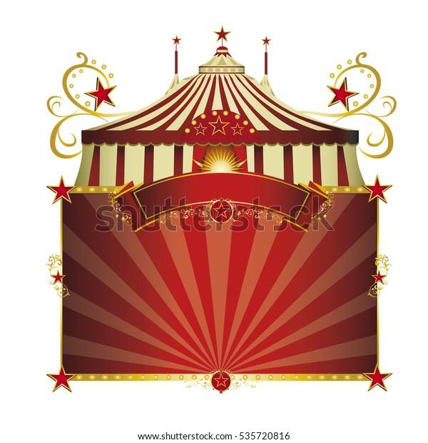 Cadre rouge cirque. Un signe de cirque isolé sur fond blanc pour votre spectacle