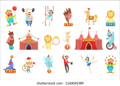 Circus Related Objects And Characters Set. Cute Cartoon Childish Style Illustrations Isolated