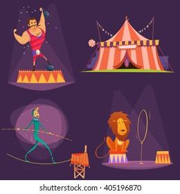 Circus retro cartoon icon set with lion tent actor gymnast vector illustration