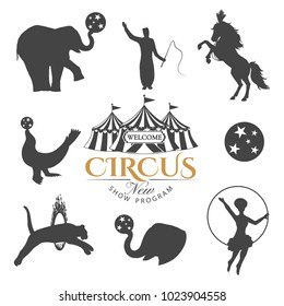Circus retro elements isolated on white background.Vector illustration.