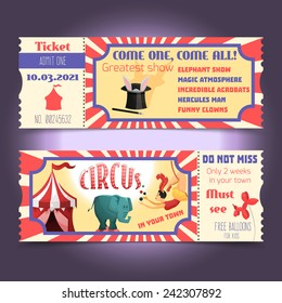 Circus retro tickets with animals acrobats magic hat isolated vector illustration