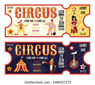 Circus retro tickets set for morning and evening performance 2 horizontal banners with clown realistic vector illustration