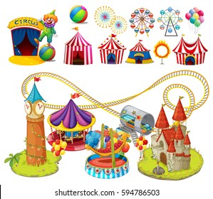 Circus rides and tents illustration