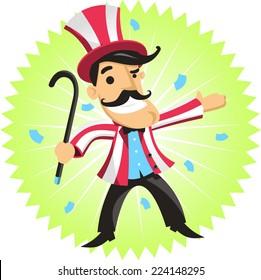 circus ringmaster amusement park cartoon vector illustration