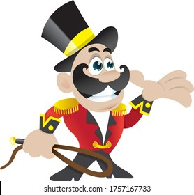 Circus ringmaster holding a whip