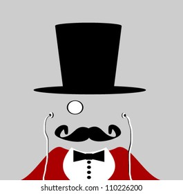 circus ringmaster with monocle and earphones wearing red jacket
