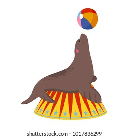 Circus seal icon. Cartoon illustration of circus seal. Vector isolated retro show flat icon for web