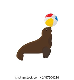 Circus seal icon. Cartoon illustration of circus seal. Vector isolated. flat icon for web