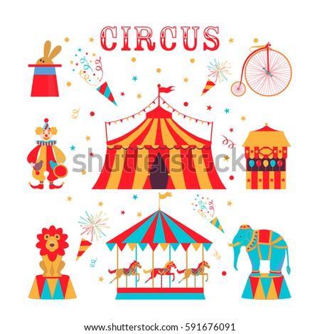 Circus Set Clown Bike Tent Rabbit Vector de stock (libre de regalías ... e6117c79885