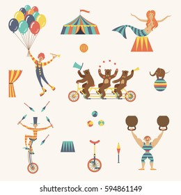 Circus set with clown, juggler, strong man, bears, mermaid and tent on a white background. Vector illustration.