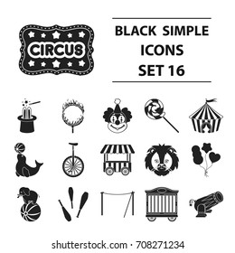 Circus set icons in black style. Big collection circus vector symbol stock illustration