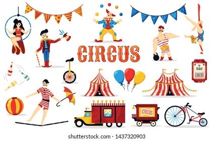 Circus set with isolated images of cartoon style performer characters tickets flags and circus big tops vector illustration
