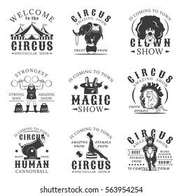 Circus set of vector vintage emblems, labels, badges and logos in monochrome style on white background. Amazing show, strong man, animals show, magic show, human cannonball,clown show design elements