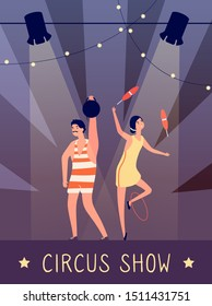 Circus show background. Strongman and juggler in spotlights on stage retro poster. Vintage kids birthday party vector flyer