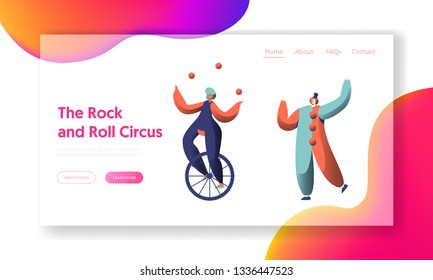 Circus Show with Clown and Unicycle Acrobat Landing Page. Woman Cyclist Juggler. Holiday Carnival Scene Show. People Character Performer Website or Web Page. Flat Cartoon Vector Illustration