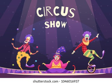Circus show with clowns on arena including juggler, comedian, performer on unicycle, on purple background vector illustration