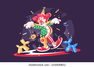 Circus show with cute clown and balloon animals. Comedian cartoon character. Flat. Vector illustration.