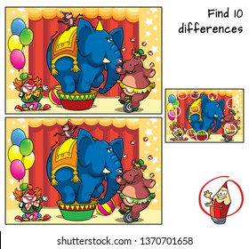 Circus show with an elephant, monkey, hippo on bicycle, and clown. Find 10 differences. Educational matching game for children. Cartoon vector illustration