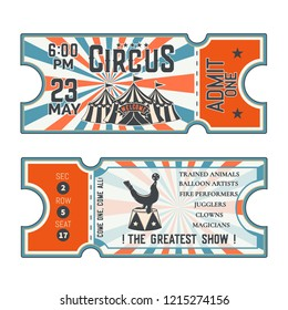 Circus show front and back side tickets.Vector illustration.