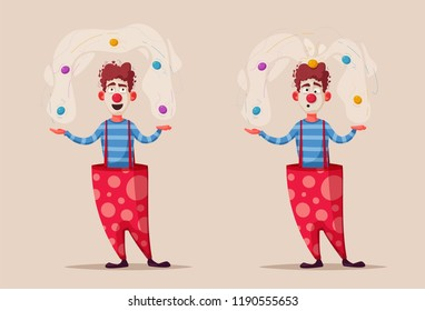 Circus show. Funny clown character juggles. Cartoon vector illustration. Juggler on the scene. For web and print