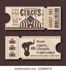 Circus show horizontal tickets front and back side vector templates in vintage style with sample text on dark textured background