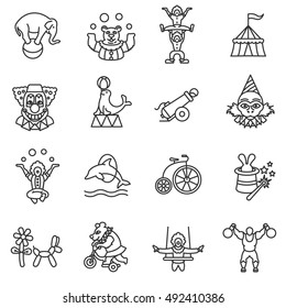 circus show icons set, line style.  animals and acrobats isolated linear symbols collection.