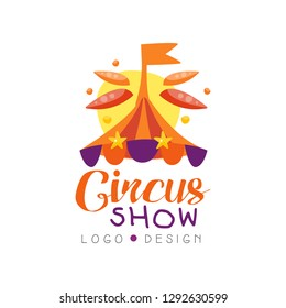 Circus show logo design, carnival, festive, circus label, badge, hand drawn template of flyer, poster, banner, invitation vector Illustration