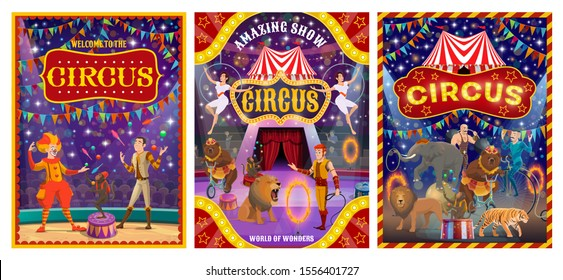 Circus show performers at arena of cirque tent vector design. Acrobats, clown and juggler, trained animals, strongman and tamer, carnival flags and amusement park marquees. Entertainment themes
