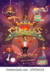 Circus show poster with acrobat animals and magician vector illustration