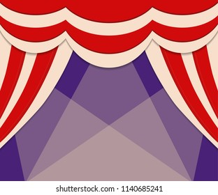 Circus show poster template with curtains. Design for presentation, concert. Vector illustration