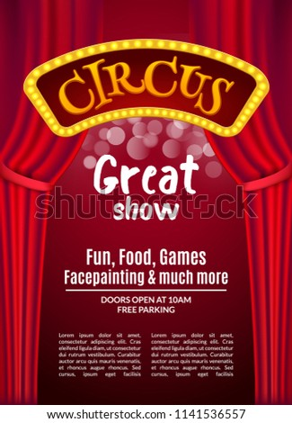 Circus Show Poster Template Sign Light Stock Vector Royalty Free