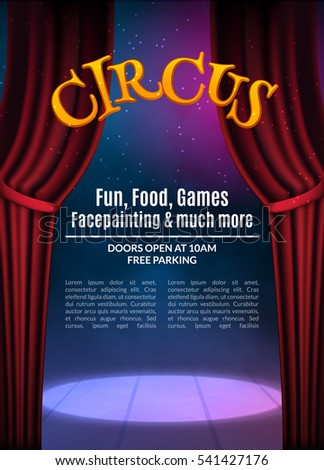 Circus Show Poster Template With Sign Festive Invitation Vector Carnival Background Illustration