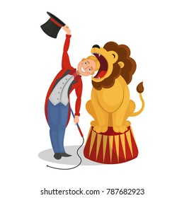 Circus show. The tamer put his head in a lion's mouth. Cartoon vector illustration.