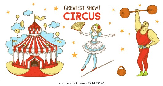 Circus show, Circus tent, ballerina acrobat on rope, strong man with weights and dumbbells, set Illustrations