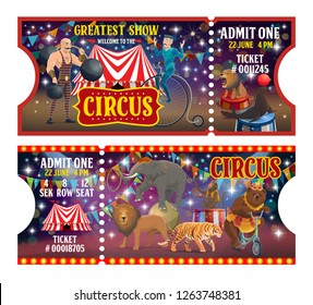 Circus show tickets, performers or artists and trained animals. Vector strongman with weight and dumbbell, acrobat on unicycle and striped tent. Lion and seal, elephant and tiger, monkey juggler, bear