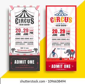 Circus show tickets set with tent. Vector template carnival banner.