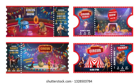 Circus show tickets vector design of carnival and amusement park admission card templates. Chapiteau top tent arena with trained animals, juggler and acrobats, magician, strongman and tamer