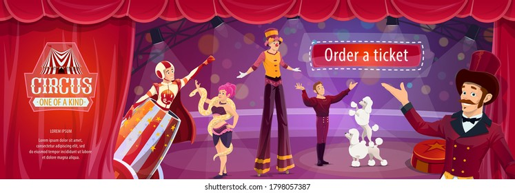 Circus show vector flyer with big top performers ringmaster, man cannonball and tamer with trained dogs, woman snake charmer or stilt walker. Cartoon artists on big top tent circus arena perform show