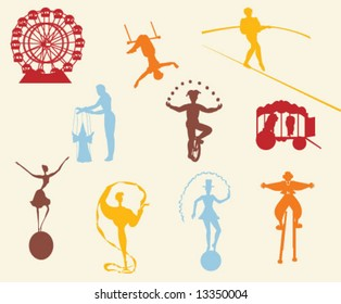 CIRCUS SILHOUETTES. Graphic elements and entertainment icons. Can be use as stickers, labels, prints etc. Editable vector illustration file.