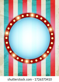 Circus striped background with retro shining banner. Design for presentation, concert, show. Vector illustration