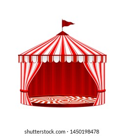 Circus Striped Tent. Vector Illustration.