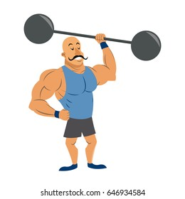 circus strong man mustache dumbbell. vector illustration.