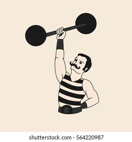 The circus strong man vector vintage illustration